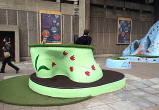 Pupils help paint Small Earth's Hayward Gallery Playscape